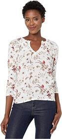Lucky Brand Floral Ruffle Notch Neck Top