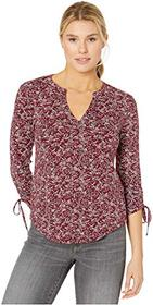 Lucky Brand 3/4 Sleeve Ruched Notch Neck Top