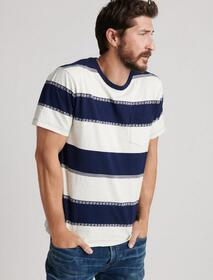Lucky Brand Jacquard Stripe Pocket Tee