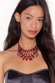 Nasty Gal Womens Red Bad Blood Beaded Layered Neck
