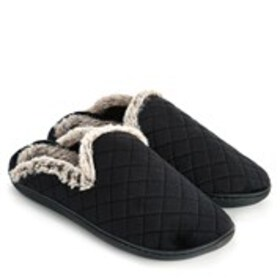 Womens Quilted Velour Clog Slippers
