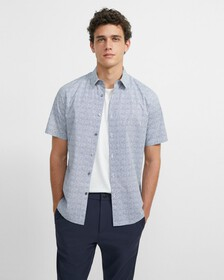 Cotton Tile Print Short-Sleeve Irving Shirt