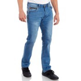 Mens Washed Stretch Skinny Jeans With Zipper Coin