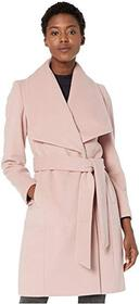 Cole Haan Slick Wool Wrap Coat w/ Exaggerated Coll