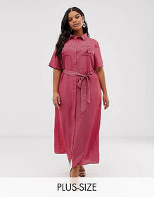 Glamorous Curve midaxi shirt dress with tie waist
