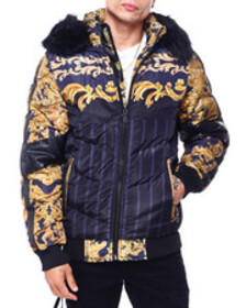 Buyers Picks gold filigree quilted hood jacket