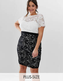 Paper Dolls plus contrast two in one stretch lace