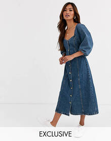 Reclaimed Vintage inspired button front midi dress
