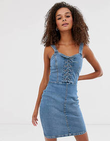 New Look bodycon dress with lace up in denim