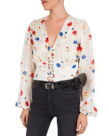 The Kooples - Daydream Flowers Lace-Up Floral Silk