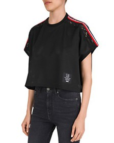 The Kooples - Cropped, Striped & Lace-Inset Mesh T