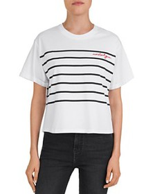 The Kooples - Striped Nostalgic Embroidered Tee