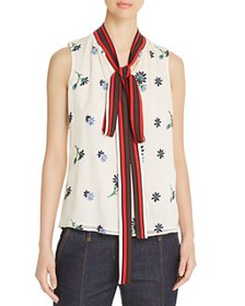 Tory Burch - Embroidered Tie-Neck Top