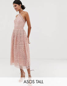 ASOS DESIGN Tall lace midi dress with pinny bodice