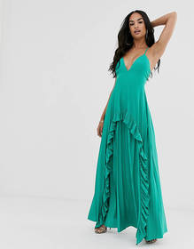 ASOS DESIGN Strappy pleated maxi dress with ruffle