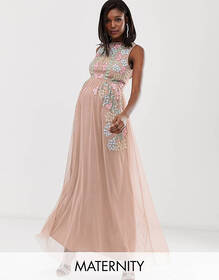 Maya Maternity all over embroidered maxi dress in