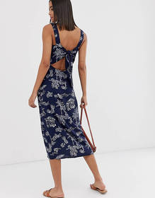 Warehouse cami dress with tie back in navy