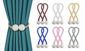 1-2 Pair Decorative Drapes Magnetic Ball Curtain T