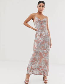 Missguided maxi slip dress in paisley print