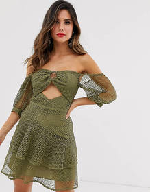 ASOS DESIGN bardot mini dress in broderie lace wit