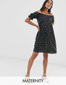 New Look Maternity off shoulder puff sleeve dress