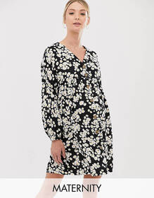 New Look Maternity button through smock dress in d