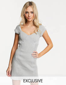 Another Reason square neck mini dress with contras
