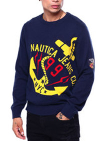 Nautica intarsia tilted anchor sweater