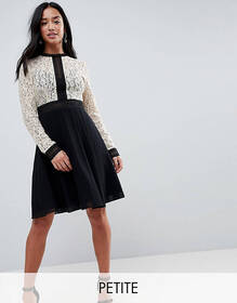 Little Mistress Petite All Over Lace Top Dress Wit