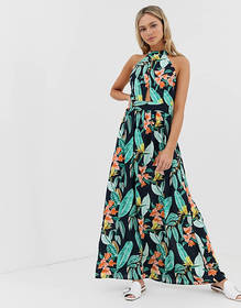 QED London high neck tie back maxi dress in floral