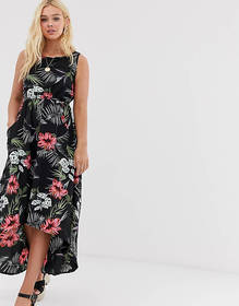 QED London high low midi dress in tropical print