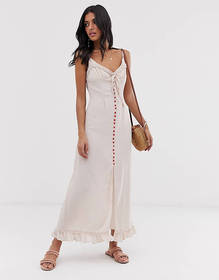 Lost Ink cami maxi dress with contrast button fron