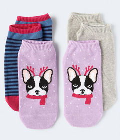 Aeropostale Reindeer Frenchie Ankle Sock 3-Pack