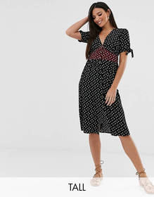 Brave Soul Tall gracie midi dress with mixed flora
