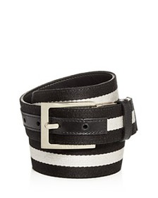 Bally - Men's Striped Canvas & Leather Reversible
