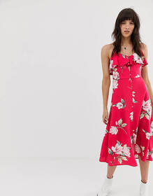Band of Gypsies ruffle front button down midi dres