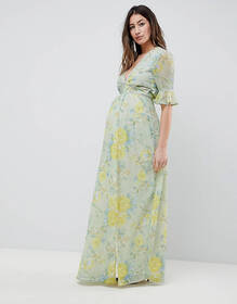 Hope & Ivy Maternity Floral Printed Maxi Dress Wit