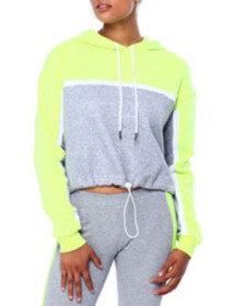 CAMP colorblock crop hoodie w/drawstring waistband