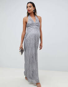 TFNC Maternity sequin maxi dress with open back in