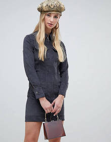 Warehouse western cord dress in gray