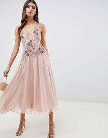 ASOS DESIGN midi dress with lace and embellished c