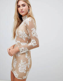 Missguided long sleeve lace dress