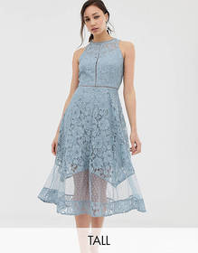 Little Mistress Tall all over dotty lace midi prom