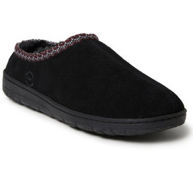 Dearfoams Men's Woven Accent Suede Clog Slippers -