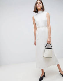 ASOS WHITE pleated midaxi dress with tie detail