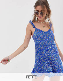 Sisters Of The Tribe Petite cami romper with frill