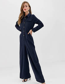 ASOS DESIGN shirt jumpsuit with pocket front and s