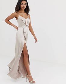The Girlcode satin jumpsuit with frill detail and
