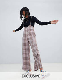 Reclaimed Vintage inspired check pants with suspen