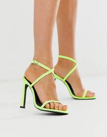 London Rebel strappy heeled sandals in neon